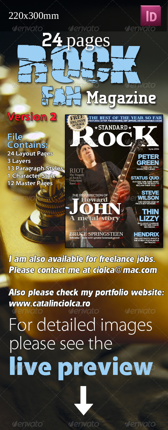 GraphicRiver 24 Pages Rock Fan Magazine Version Two 4396948
