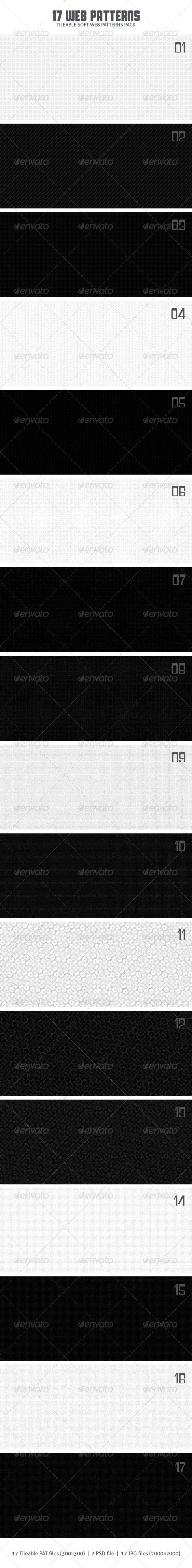 17 Web Patterns - Miscellaneous Textures / Fills / Patterns