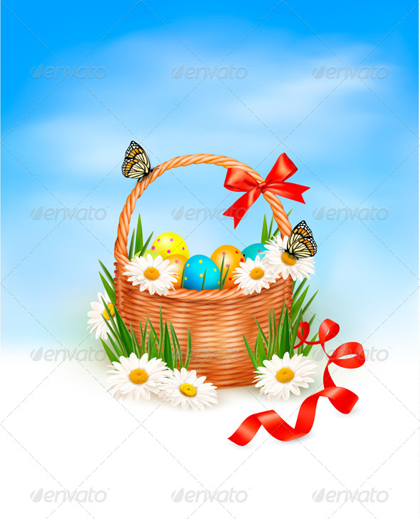 GraphicRiver Holiday Easter Basket Background 4397451