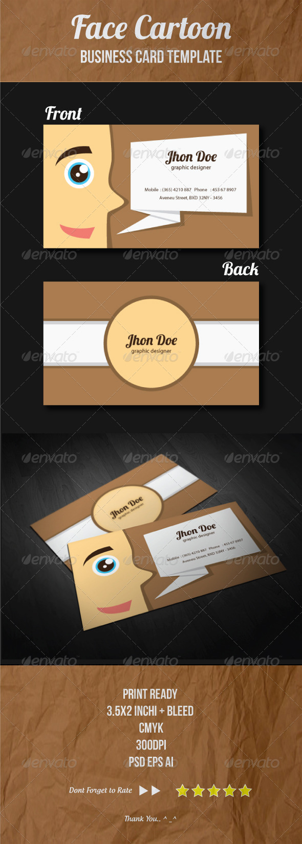 GraphicRiver Face Cartoon Business Card Template 4289048