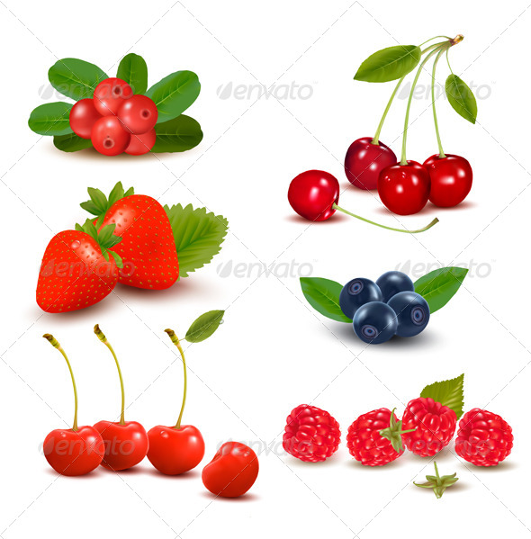 GraphicRiver Group of Fresh Berries and Cherries 4397942
