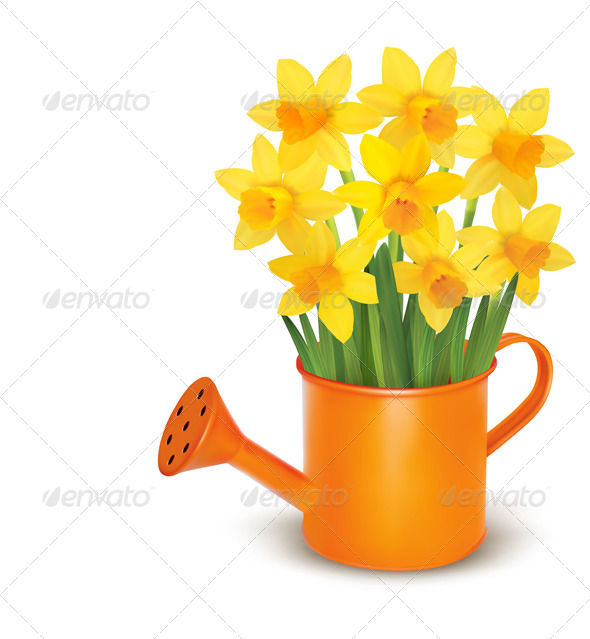 GraphicRiver Spring Flowers with Watering Can 4397948