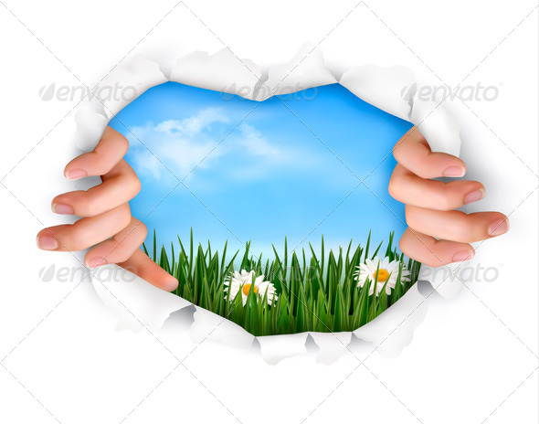 Nature Background with Ripped Paper and Hands