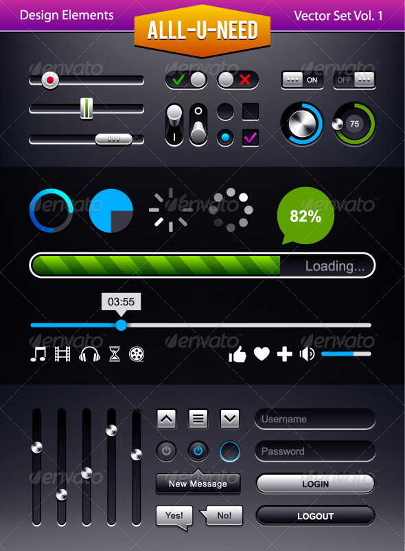 GraphicRiver Set of User Interface Elements 4346504