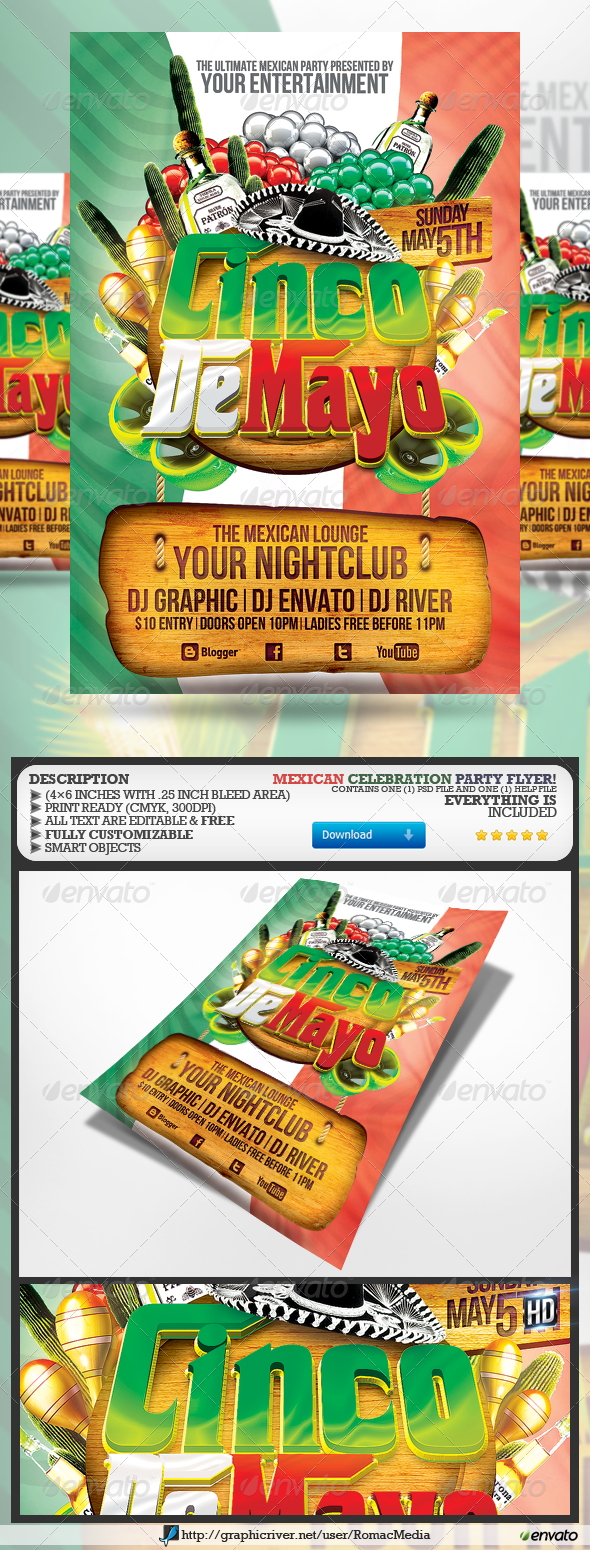GraphicRiver Cinco De Mayo Party Flyer 4399374