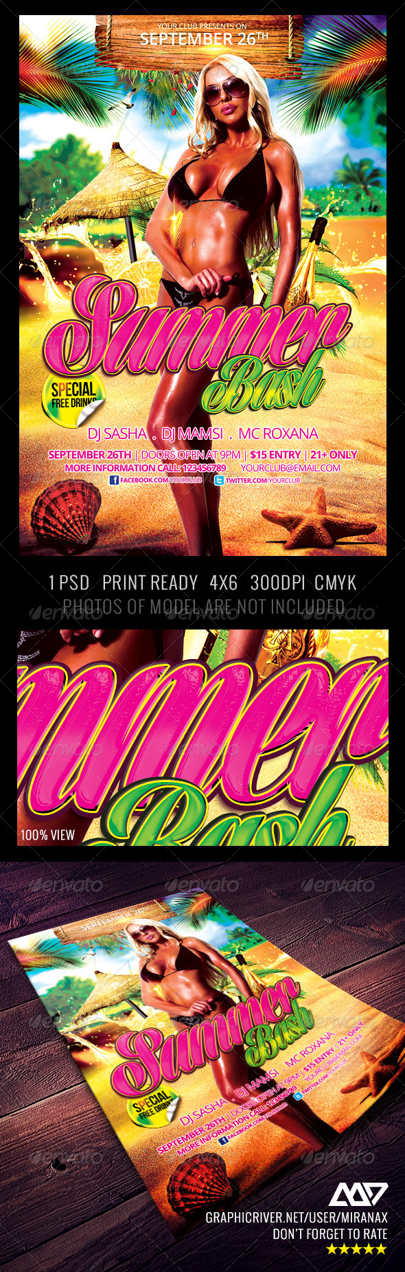 GraphicRiver Beach Party Flyer Template 4287408