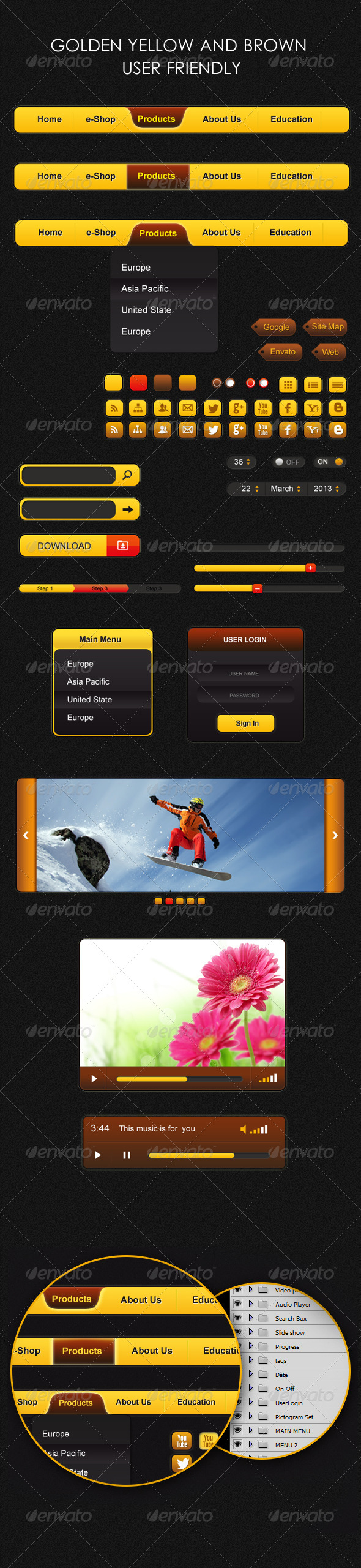 GraphicRiver Golden Yellow and Brown User Friendly 4362154
