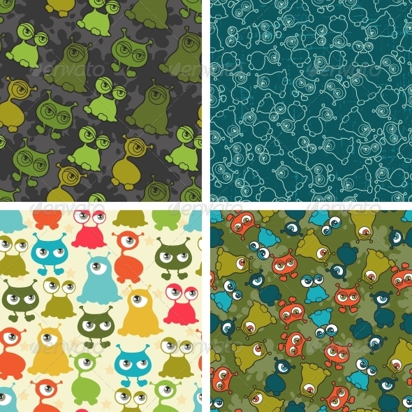 GraphicRiver Abstract Seamless Patterns with Monsters 4399614