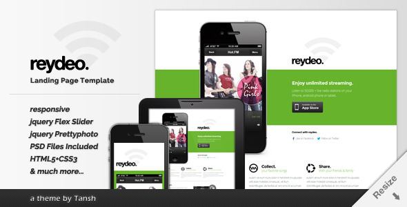 ThemeForest Reydeo Responsive HTML Landing Page Template 4399711