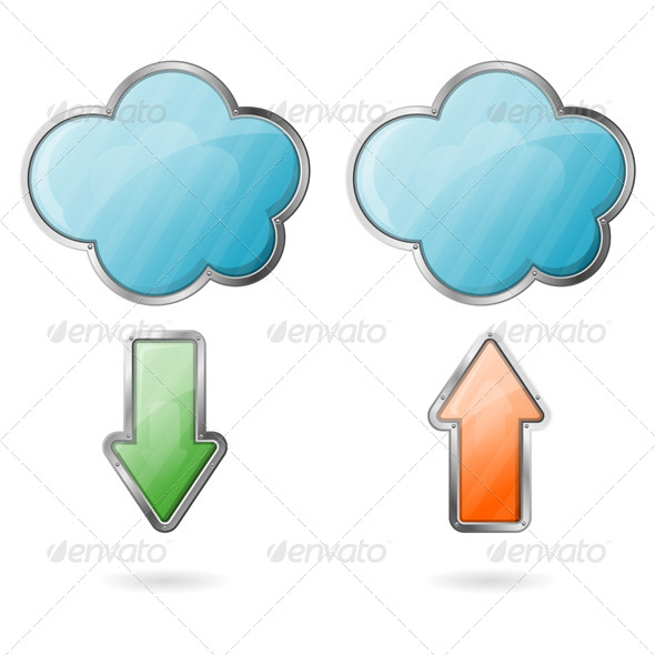 GraphicRiver Upload and Download on Cloud Icon 4399927