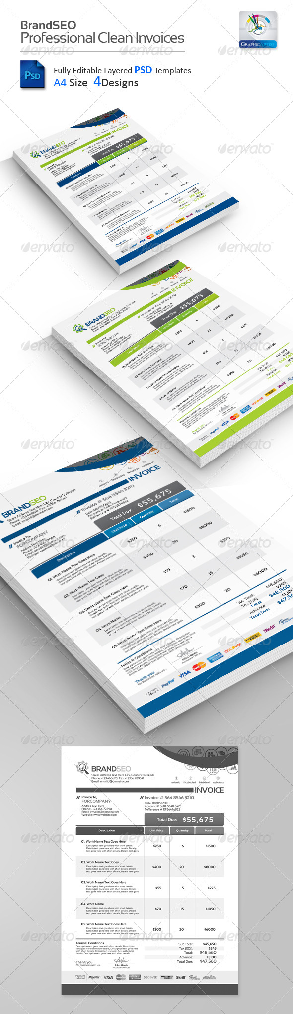 GraphicRiver BrandSEO Creative PSD Invoices 4400525