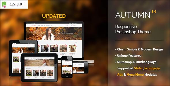 ThemeForest Autumn Responsive Prestashop Theme 3848244