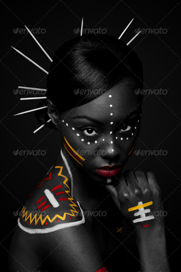 Tribal beauty woman with makeup - Stock Photo - Images
