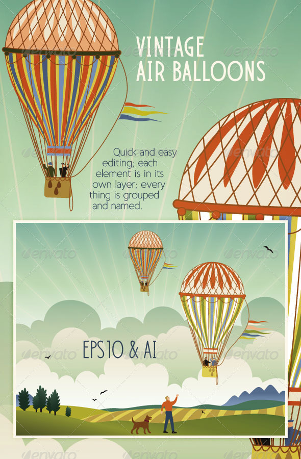 GraphicRiver Vintage Hot Air Balloons Flying over Landscape 4403771
