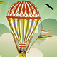 Vintage Hot Air Balloons Flying over Landscape - GraphicRiver Item for Sale