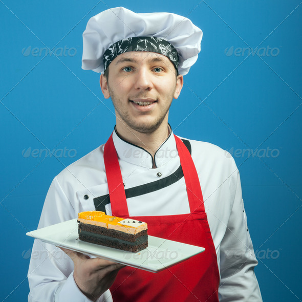 Chef Showing Cake - Stock Photo - Images