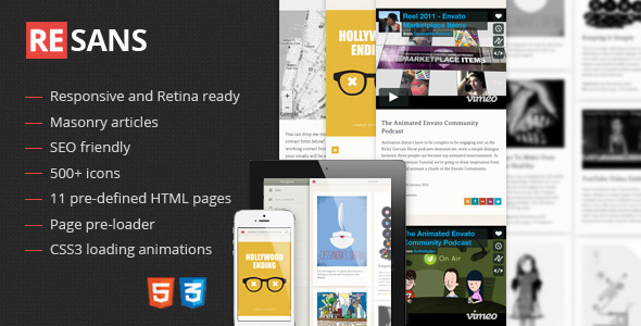 ThemeForest Resans Mobile and Tablet Responsive Template 4405035