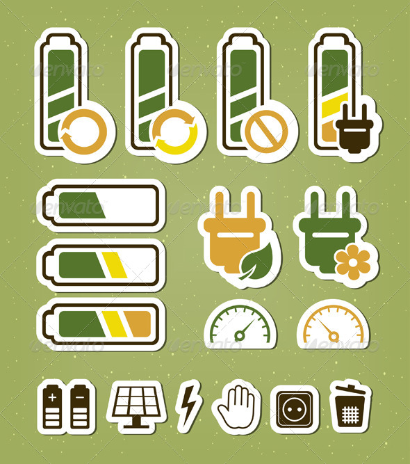 GraphicRiver Battery Recycling Icons Set 4405141