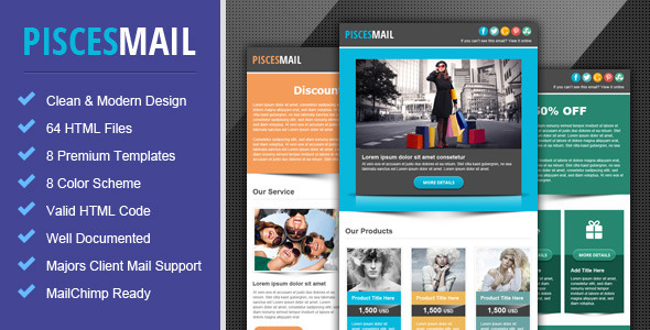 ThemeForest Piscesmail Email Newsletter Template 4405429