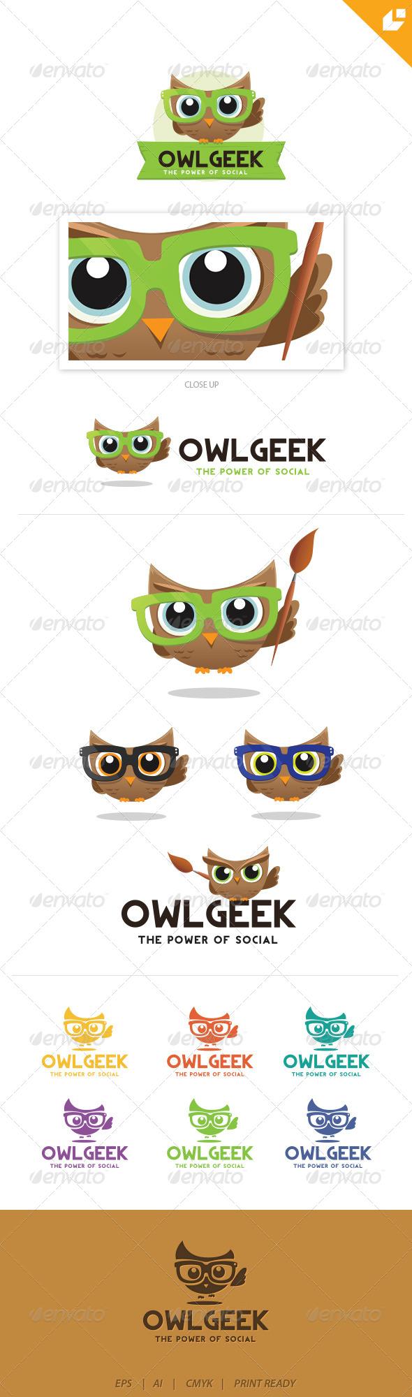 GraphicRiver Owl Geek Logo 4405601