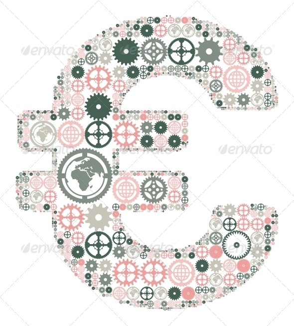 GraphicRiver Euro Sign Made of Colored Gears 4405631