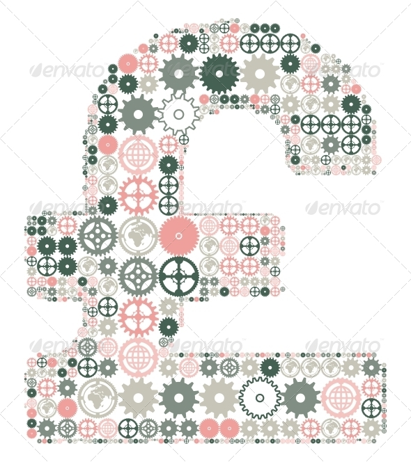 GraphicRiver British Pound Sign Made of Colored Gears 4405632