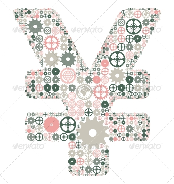 GraphicRiver Japanese Yen Sign Made of Colored Gears 4405634