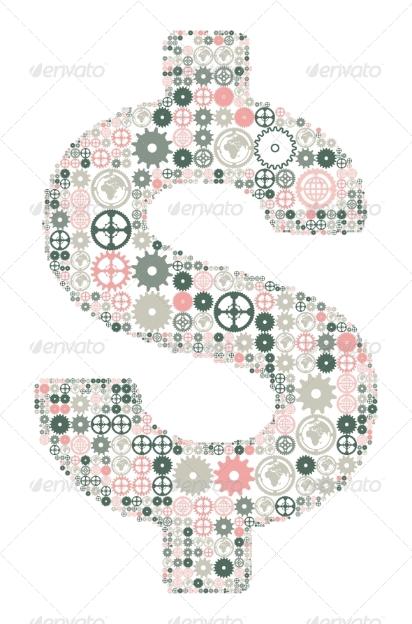 US Dollar Sign Made of Gears