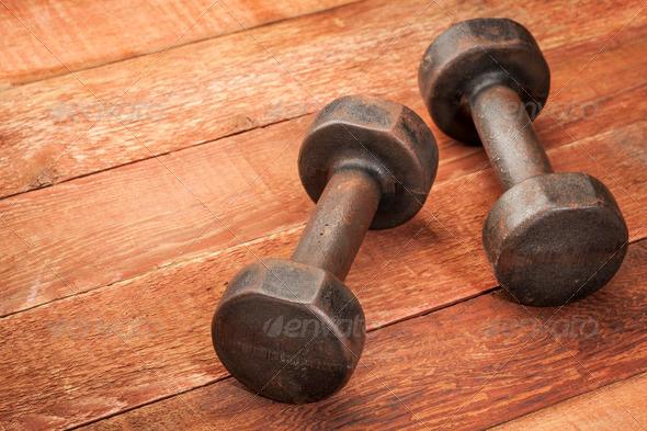 vintage iron dumbbells - Stock Photo - Images