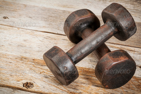 vintage iron dumbbells - Stock Photo - Images