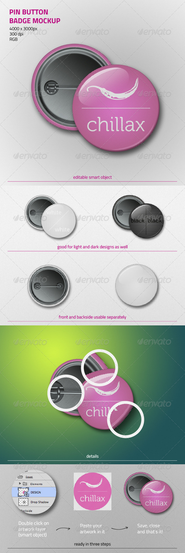 GraphicRiver Pin Button Badge Mockup 4406922