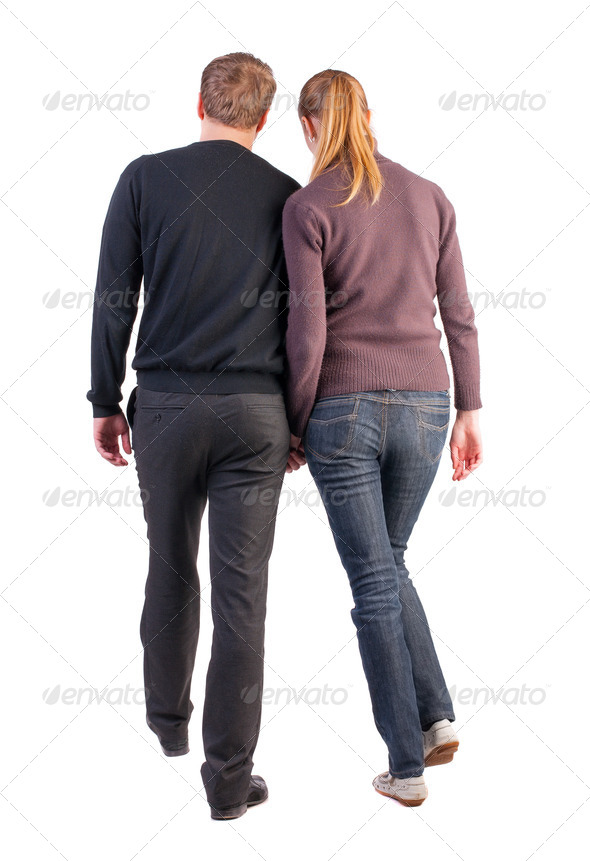 Back view of walking  young couple - Stock Photo - Images