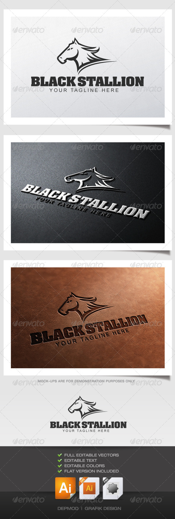 GraphicRiver Black Stallion Logo 4407273