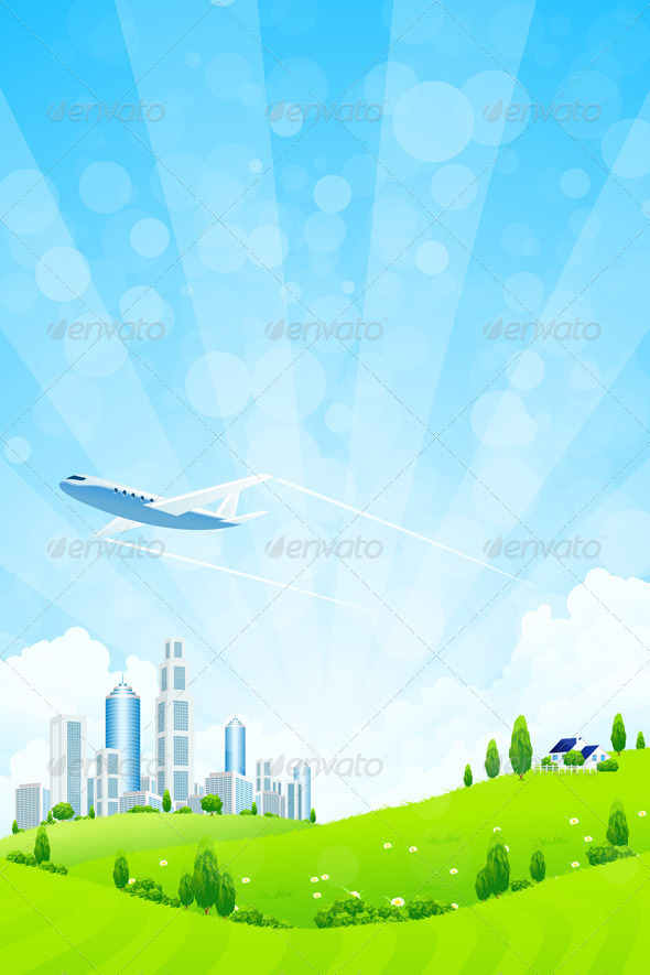 GraphicRiver Green Landscape with City 4407614