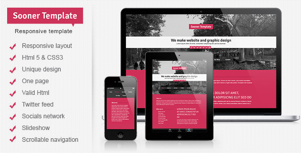 ThemeForest Sooner Responsive One Page Creative Template 4407930