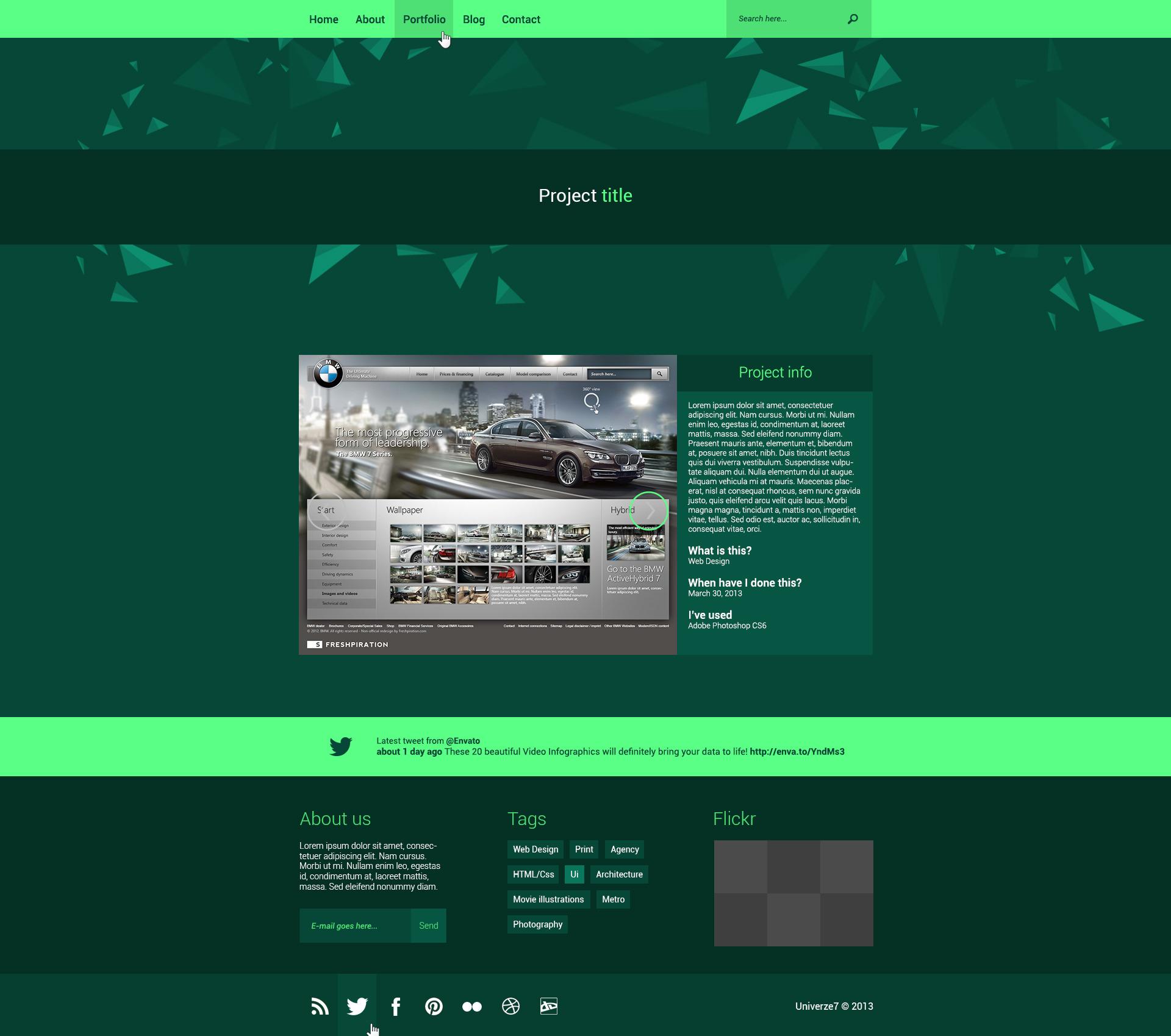 Univerze7 - Metro Style PSD Template