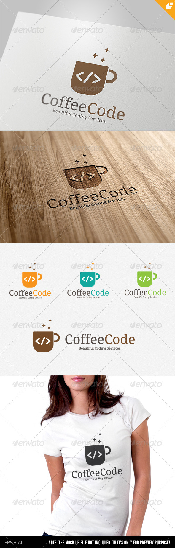 GraphicRiver Coffee Code Logo 4408659