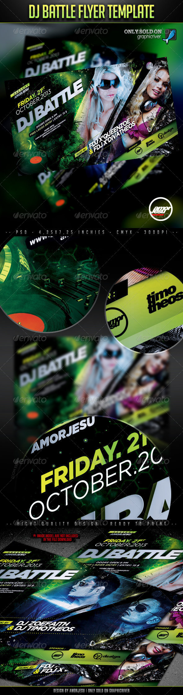 DJ Battle Flyer Template - Clubs & Parties Events