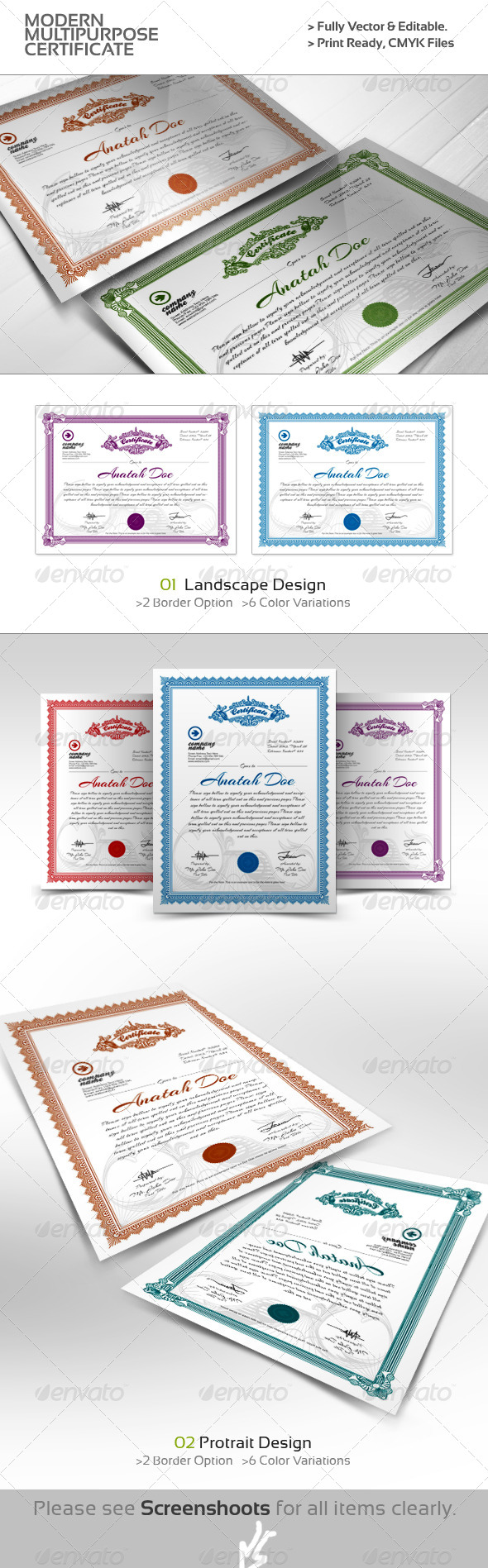 GraphicRiver Modern Multipurpose Certificates 4409262