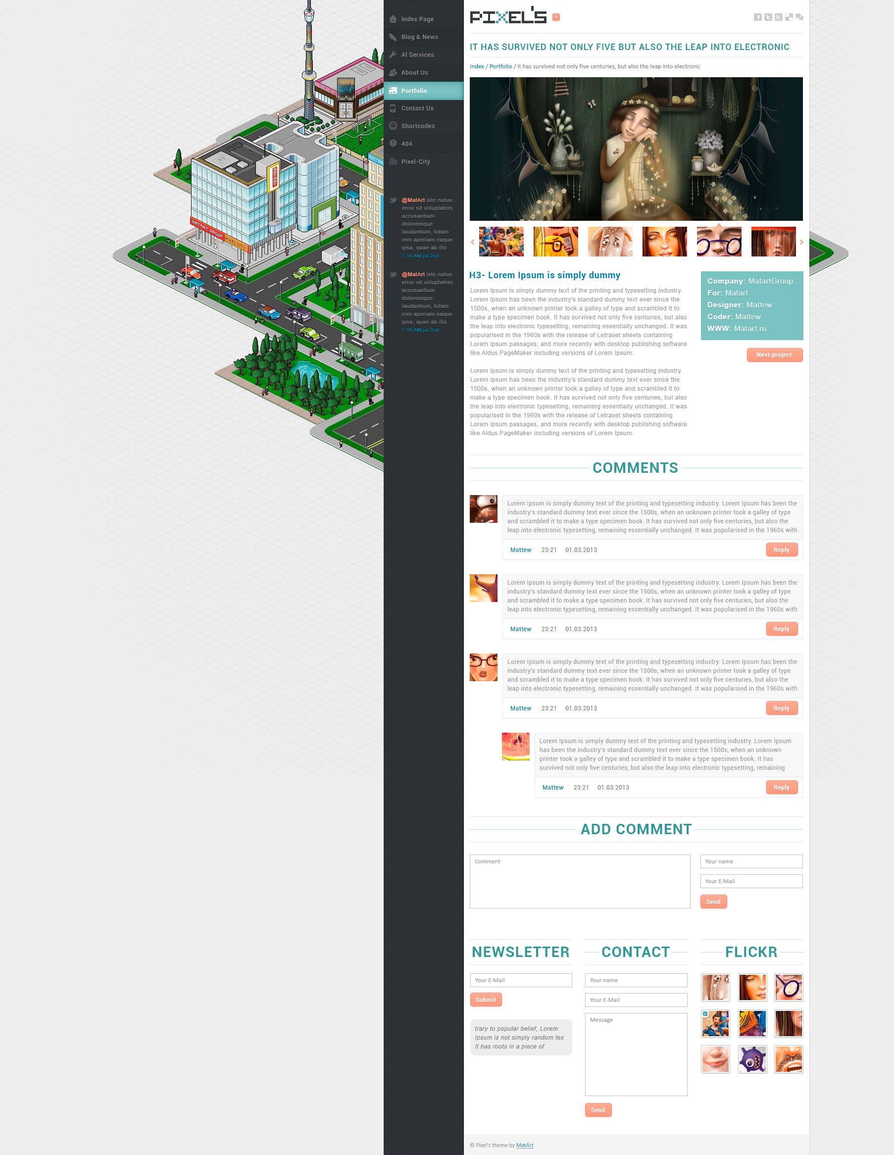 Pixels - clean design for blog & portfolio