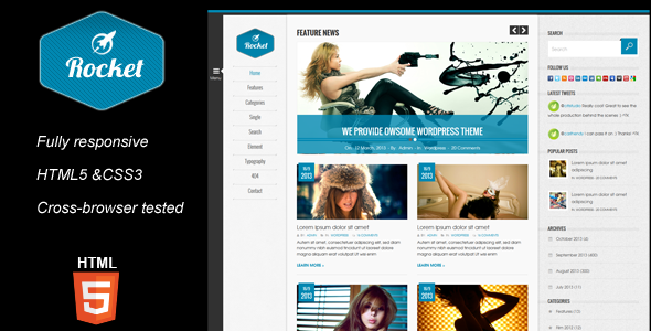 Rocket Magazine HTML5 Template - Corporate Site Templates