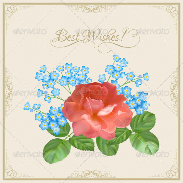 GraphicRiver Vintage Postcard with Flowers 4410141