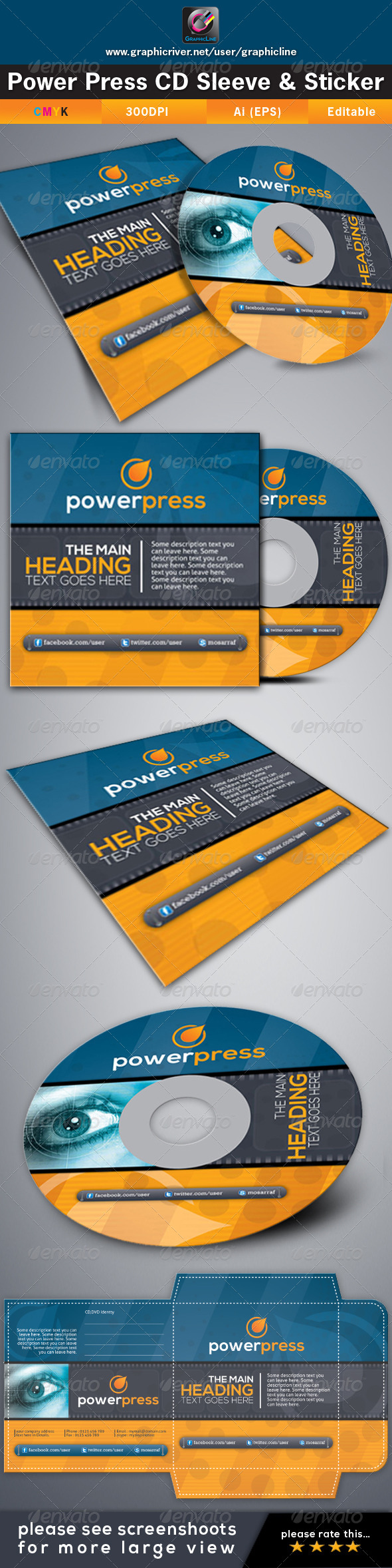 GraphicRiver Power Press CD Sleeve & Sticker 4410178