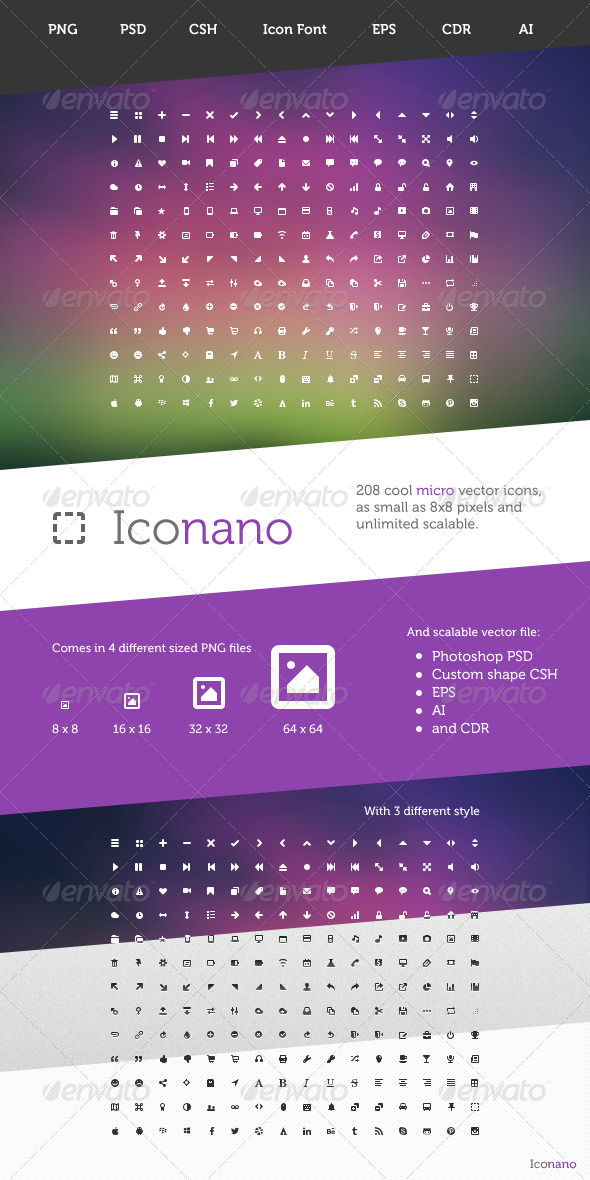 GraphicRiver Iconano 208 Micro Vector Icons 4410567