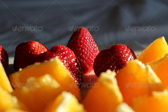 Sliced Oranges & Strawberries - Stock Photo - Images