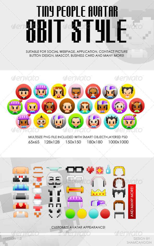 GraphicRiver Tiny People Avatar 8bit Style 4410587
