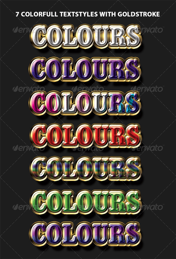GraphicRiver Colorfull Textstyles With Goldstroke 4410613