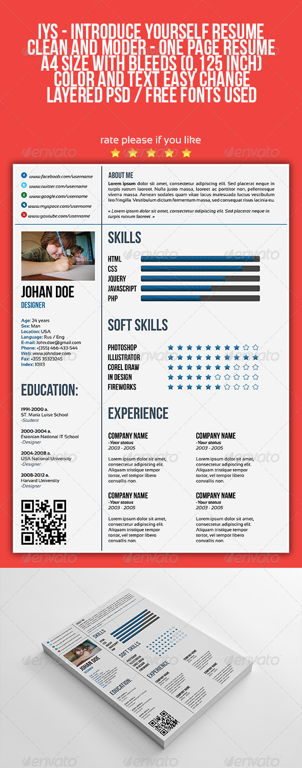 GraphicRiver IYS Resume Template 4410707