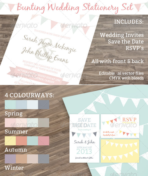 GraphicRiver Bunting Wedding Stationery Set 4234470