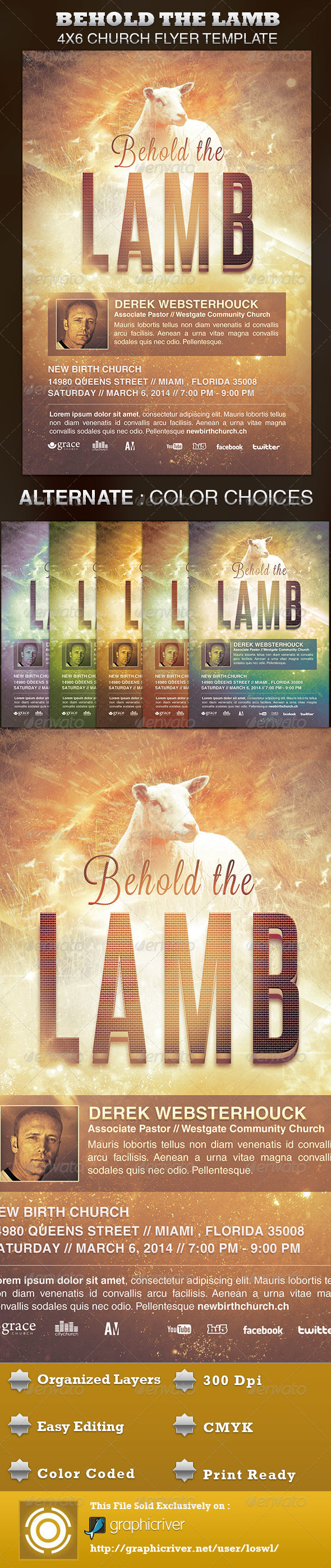 Behold the Lamb Church Flyer Template - Church Flyers